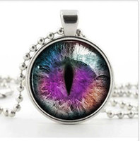 Pendant Necklaces animal eyes photos - Silver Silver Fantasy Photo Dragon Cat Eye Necklace Pendant Purple ColorArt Jewellery