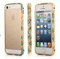Wholesale Ethnic style enamel Crystal Diamond Aluminum Frame Bumper Case for iPhone S