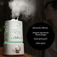 Tabletop / Portable machine oil machine - Aromacare ultrasonic diffuser humidifier essential oil aromatherapy machine Dual spray port openwork floral design