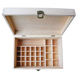 Древесное масло Онлайн-Многофункциональные деревянные Аромакология Box 32 отверстия 10мл бутылки и 1 перекладина 4 * 100мл бутылки Естественная древесина сосны без краски