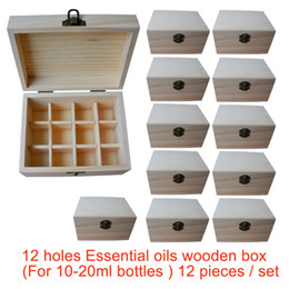 Factory Wholesale 12 pieces set Natural pine wooden boxes Essential Oils Storage Box 12 holes 5ml - 20ml bottles without paint