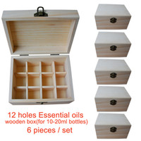 Wholesale pieces set Handmade Natural pine wooden boxes Essential Oils Storage Box holes ml ml bottles without paint