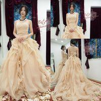 Wholesale Elegant Ruffle Champagne Wedding Dresses Organza Bride Dresses Women Bridal Gowns With Train