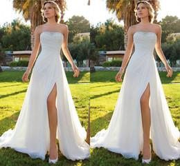 2019 Summer Beach Cheap Wedding Dresses Sheath Chiffon High Slit Strapless Beaded Sweep Train Bridal Gowns Low Price Casual Dress