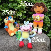 wholesale dora - 25 CM Stuffed Plush Toy Dora The Explorer Swiper Fox Boots Monkey For Kids Gifts Drop