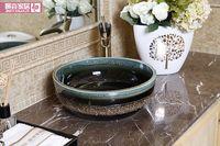 ceramic art basin - Jingdezhen Mediterranean style ceramic art basin basin stage basin basin sink color glaze A9