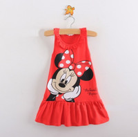 TuTu Summer Straight New 2014 Kids girls clothes cute Mickey Mouse Minnie Dress, 2 colors of red and pink mini Clothes, baby girls clothing dress+ children girls