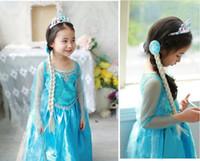 TuTu Summer A-Line Frozen clothes Romance elsa princess dress Elsa & Anna dresses Costume kids girls Blue Dress party gift DHL Free