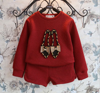 Wholesale Winter Children Girls Cotton Long Sleeve Bowknot Beading Shoes T shirt Short Trousers Set Kids Girl Clothing Suit Black Crimson M0744