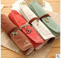 Wholesale South Korean students supplies Individuality creative pen bag Canvas curtain pencil case Elegant learning stationery pen bag