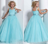 Wholesale Princess Blue Sweet Pleated Tulle Ball Gown Girls Pageant Dresses With Beading Sash Flower Girl Dress Plus size Hot sale