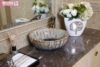 Wholesale Jingdezhen Mediterranean style ceramic art basin basin stage basin sinks lavabo rock glaze
