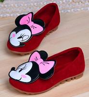Girl Spring / Autumn Rubber Minnie Mice Autumn Children Kids PU Dress Shoe Antiskid Casual Shoes Princess Girls Walking Slip On Flats Red Black Rose for 0-14T K0615