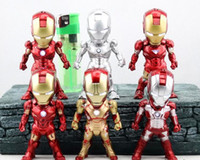 Wholesale 9cm set led light marvel ironman doll pvc dolls iron man action figurine collection model super hero toy figures kids gift