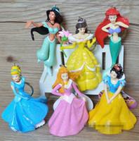Wholesale Hot Sale shiny princess keychain pvc Ariel Cinderella Snow white Belle Aurora Cartoon Figure Toy Set of