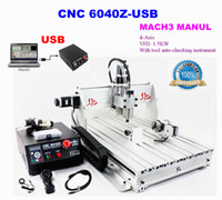 375*575*68mm auto router - 4 Axis USB CNC Milling Machine CNC Z USB Mach3 manual Router with KW VFD spindle and auto checking tool USB port