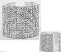 SILVER RHINESTONE CUFF BRACELET Wedding PARTY Brides and Bri...