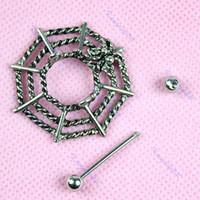 Wholesale OP Cobweb Spider Web Style Nipple Shields Bar Ring Body Piercing Jewelry