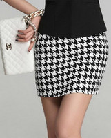Wholesale New Fashion White Plover Case Black Background Women Package Hip Skirt