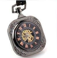 Men's men pocket square - Top Rated Luxury Flat Square Black Pad Roman Mechanical Pocket Watch Men Rectangle Golden Red Dial Skeleton Half Hunter Pendant Watches Gift