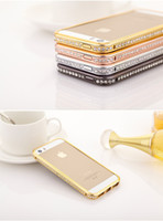 Wholesale Luxury Crystal Rhinestone Bumper Frame For iPhone s Diamond Gold Slim Shining Bling Metal Case For iPhone5 S