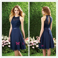 Sheath/Column out of - Short Navy Blue Bridesmaid Dress Halter High Neck Cut out Lace Top Knee Length Cheap Chiffon Beach Maid of the honor Dress for wedding