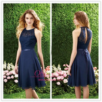 Wholesale Short Navy Blue Bridesmaid Dress Halter High Neck Cut out Lace Top Knee Length Cheap Chiffon Beach Maid of the honor Dress for wedding