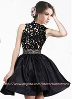 Wholesale Little black dress with high collar sleeveless sheer lace top A line satin skirt short prom party cocktail homecoming dresses CPS066