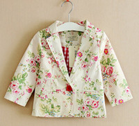 Wholesale Europe Fashion Children Girls Floral Small Long Sleeve Business Suit Flower Shivering Outwear Clothing Spring Autumn Kids Coat E0613