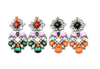 Wholesale idealway European Gun Black Vintage Big Colorful Gem Crystal Long Dangle shourouk Earrings Pairs