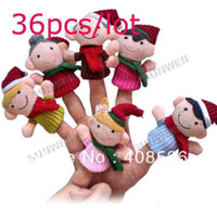 Unisex 0-12 Months Multicolor 36Pcs free shipping Happy Family Soft Plush Puppet Finger Toys Educational Story-telling Toy For Children 8453