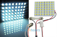 T8 22w SMD 3528 Wholesale 10 pcs lot Pure White Car Interior 48 5050 SMD LED Light Lamp Panel T10 Dome BA9S Adapter