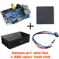 Voltage Regulator Computer  Original Banana Pi+Sata Line Cable 100% Copper Wire+Black Fashion ABS Material Case+Heat Sink Free shipping Ship Within 48 Hours