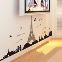 al por mayor mural de la pared parís-Torre Eiffel de parís Vista de Noche de la Hermosa y Romántica Negro de Simple Pared BRICOLAJE Sticke Extraíble fondo de pantalla de Arte de la Decoración Mural de la Sala de Calcomanía Pegatinas H11526