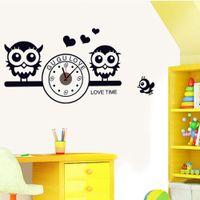 owl decor - Cute Owls with Clock DIY Wall Sticke Wallpaper Stickers Art Decor Mural Room Decal Home Decoration Adesivo De Parede H11590