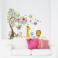Wholesale Cartoon Cute Lion Owl Giraffe DIY Cartoon Wall Sticke Wallpaper Stickers Art Decor Mural Kid s Child Room Decal Home Decoration H11573