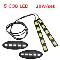 Cheap 1Pair 20W set COB 5 LED Car Daytime Running Light Lights Bar DRL Led Driving Lamp Fog Light White 12V 6000-6500K K1325