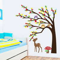 Wholesale Cartoon Cute Animal Deer Owl Tree Mushroom DIY Wall Sticke Wallpaper Stickers Art Decor Mural Kid s Child Room Decal Sticker H11571