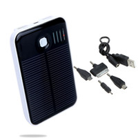 Wholesale 5000mAh Solar Mobile Power Bank USB Port External Charger Universal for iPhone iPad Samsung Nokia Smartphones Portable PA1547