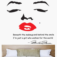Wholesale Portrait of Marilyn Monroe DIY Wall Sticke Wallpaper Stickers Art Decor Mural Room Decal Adesivo De Parede Home Decoration H11582