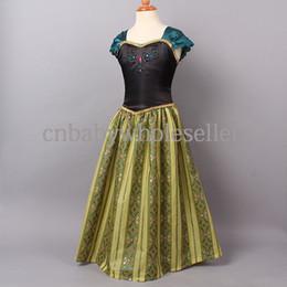 Wholesale 2014 Hot Seller Girls Frozen Princess Dresses Elsa Anna Dress Green Anna Coronation Dresses Girls Fashion Cosplay Dresses GD40701