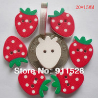 Wholesale Hole Strawberries Cartoon Wooden Buttons Children DIY Wooden Beads MM N0217