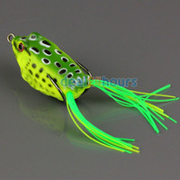 Wholesale 1pc Topwater Frog Hollow Body Soft Fishing Lures Crankbait Bass Hooks Baits Tackle g cm Deep Green
