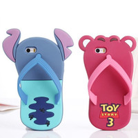 Wholesale Apple iphone5 S S Mickey cartoon slippers phone shell sandals silicone sleeve protective shell