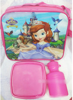 Wholesale 8 off Cartoon Princess Sofia cutlery set lunch bag lunchbox kettle Children s tableware package DROP SHIPPING LY