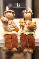 People One pair price Resin French foreign trade American Continental Village resin doll ornaments hanging feet Indian nations flannel pants