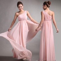 Model Pictures Chiffon Ruffle 2014 Bridesmaid Dresses Sweet Princess Greek Style Goddess A-Line One-shoulder Bare Pink Party Dress Pleats Discount Prom Dresses XYR022