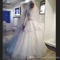 Wholesale 2015 New Collection Muslim High Neck A line Lace Wedding Dresses Sweep Train Long Sleeve White Elegant Bridal Gowns Plus Size Custom