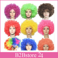 Party Rainbow Afro Clown Child Adult Costume Football Fan Wi...