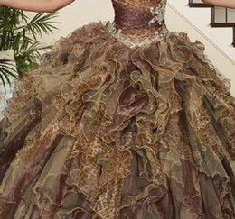 Wholesale 2014 Hot Sales Free Jacket Ball Gown Quinceanera Dresses Sweetheart Sleeveless Leopard Print Beaded Sequined Crystal Floor Length Pleats